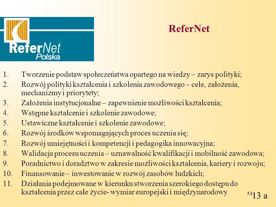 ReferNet Tworzenie podstaw społeczeństwa opartego na wiedzy – zarys polityki;