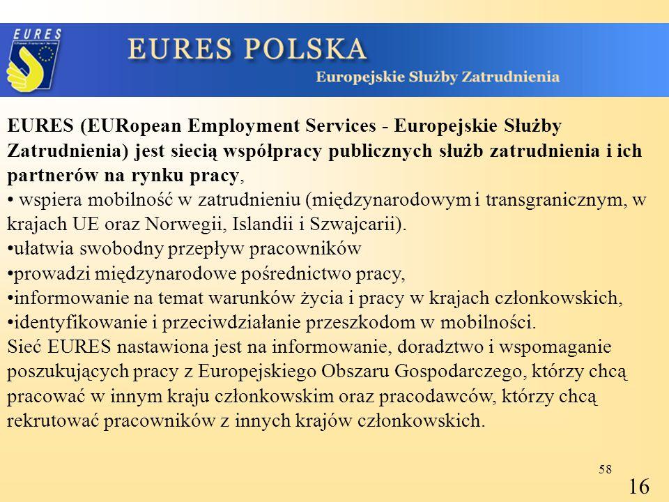 EURES (EURopean Employment Services - Europejskie Służby Zatrudnienia) jest siecią współpracy publicznych służb zatrudnienia i ich partnerów na rynku pracy,