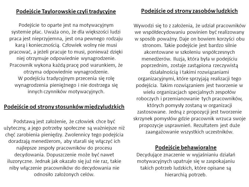 Podejście Taylorowskie czyli tradycyjne