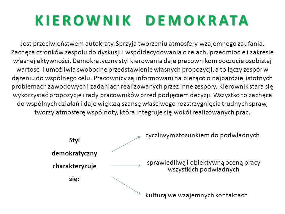 Styl demokratyczny charakteryzuje się: