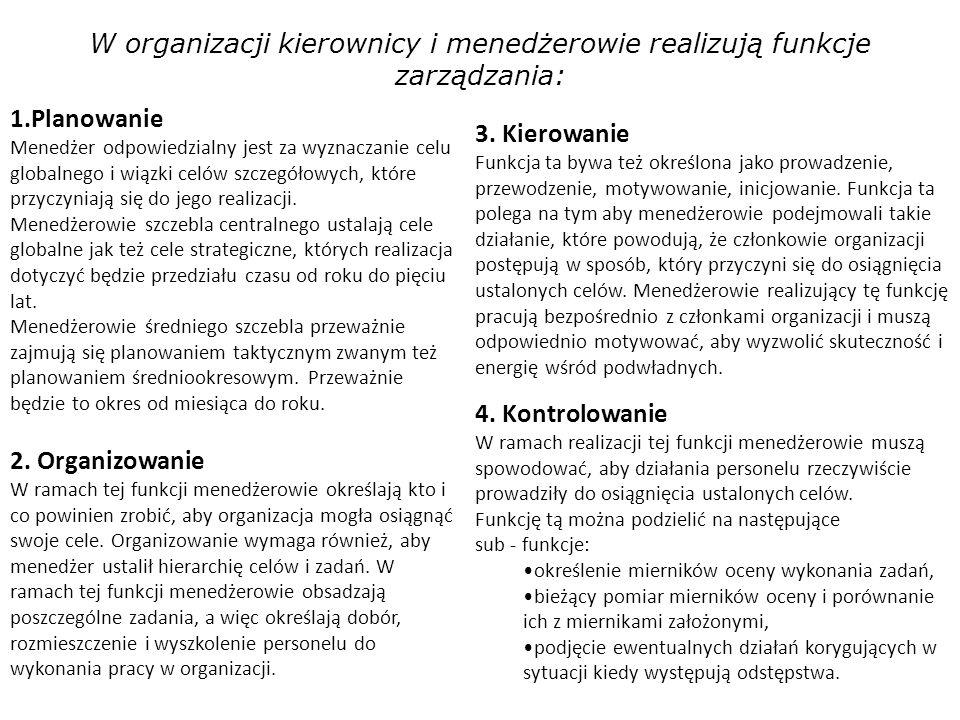 W organizacji kierownicy i menedżerowie realizują funkcje zarządzania: