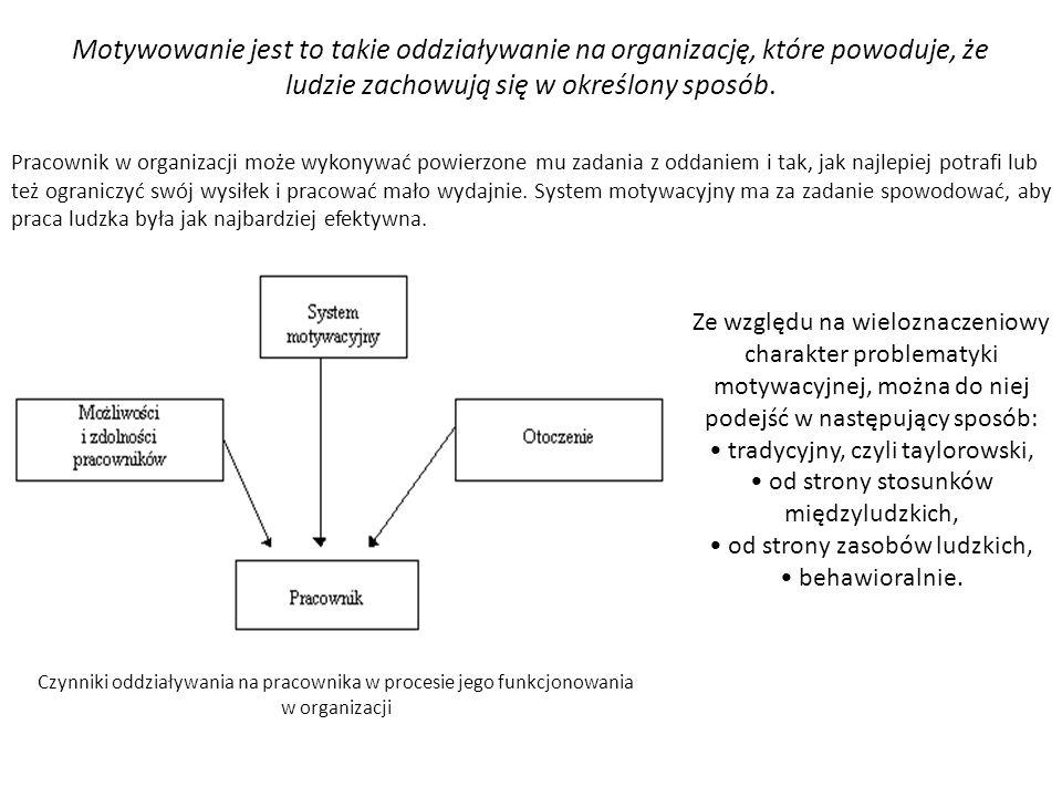 Motywowanie jest to takie oddziaływanie na organizację, które powoduje, że ludzie zachowują się w określony sposób.