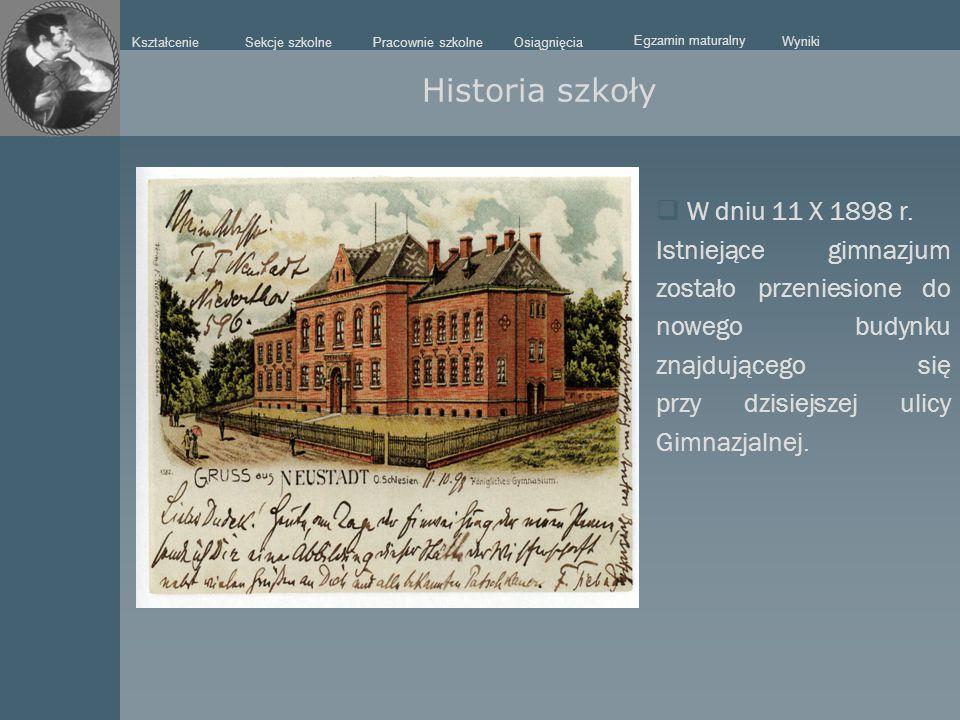 Historia szkoły W dniu 11 X 1898 r.