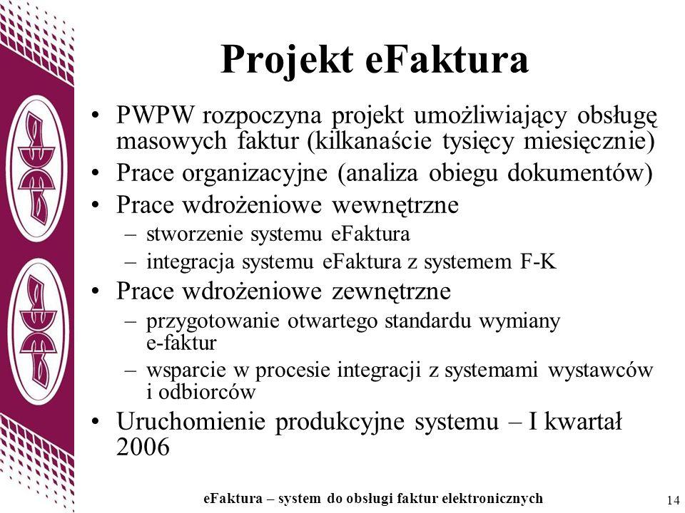 Projekt eFaktura PWPW rozpoczyna projekt umożliwiający obsługę masowych faktur (kilkanaście tysięcy miesięcznie)
