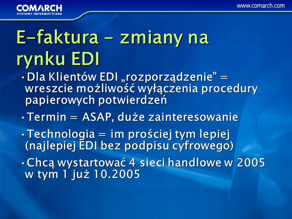 E-faktura - zmiany na rynku EDI