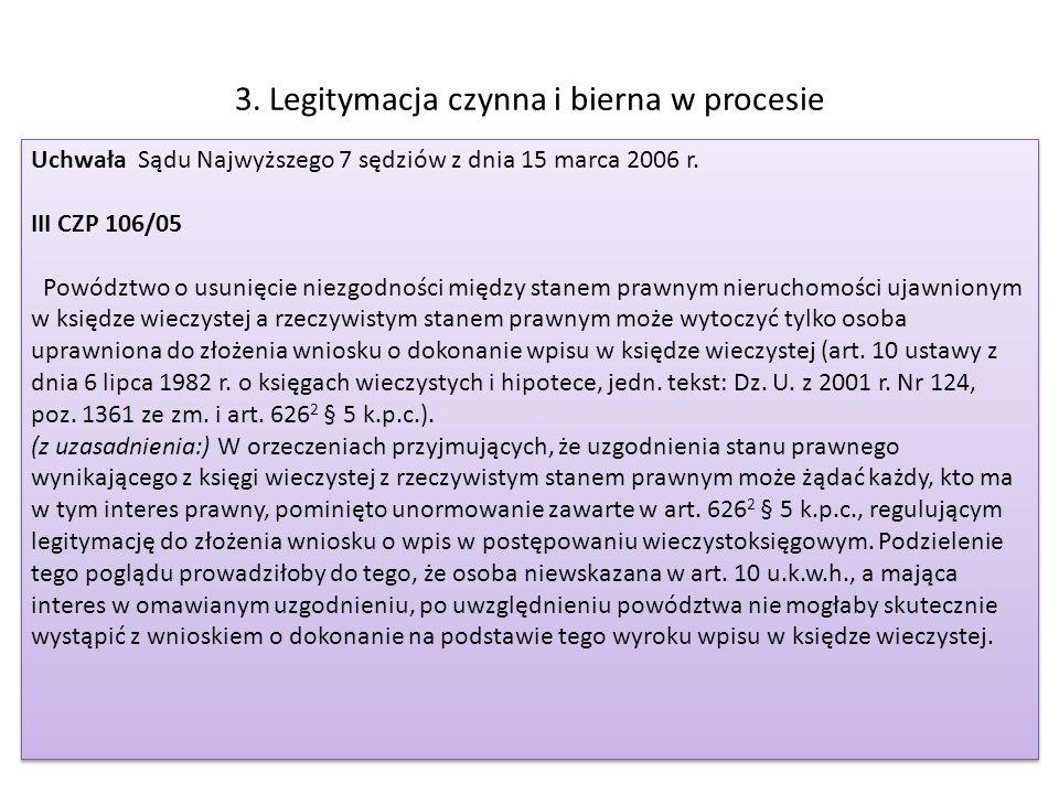 3. Legitymacja czynna i bierna w procesie