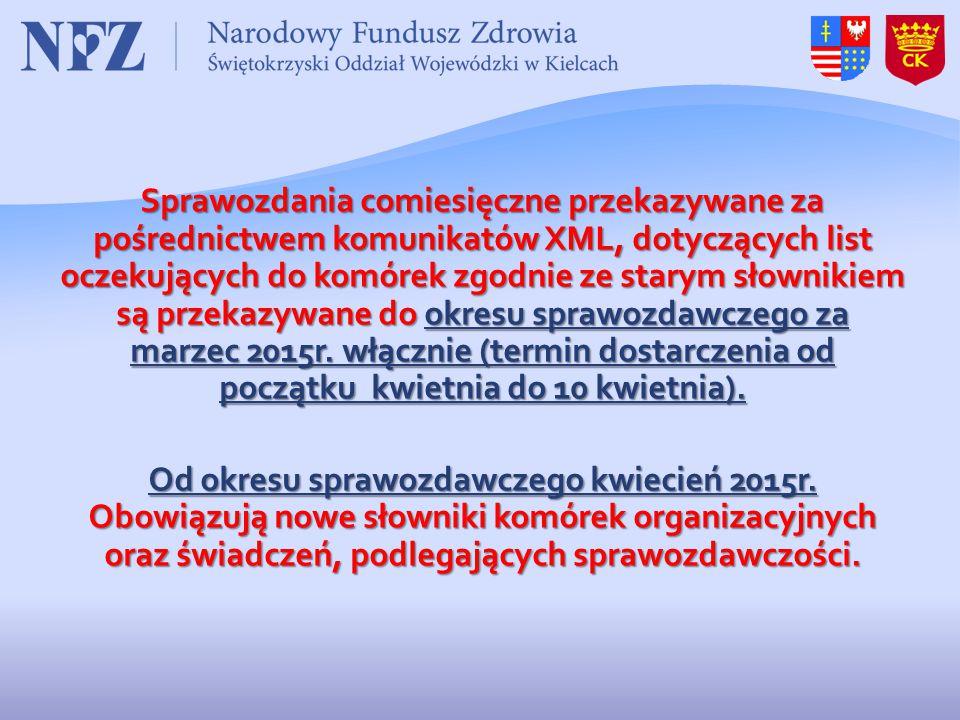 Sprawozdania comiesięczne przekazywane za pośrednictwem komunikatów XML, dotyczących list oczekujących do komórek zgodnie ze starym słownikiem są przekazywane do okresu sprawozdawczego za marzec 2015r.