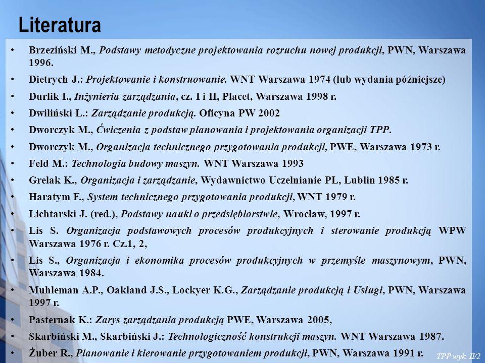 Literatura Brzeziński M., Podstawy metodyczne projektowania rozruchu nowej produkcji, PWN, Warszawa 1996.