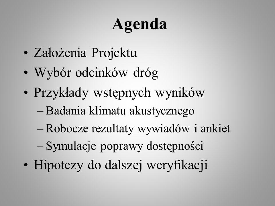 Agenda Założenia Projektu Wybór odcinków dróg