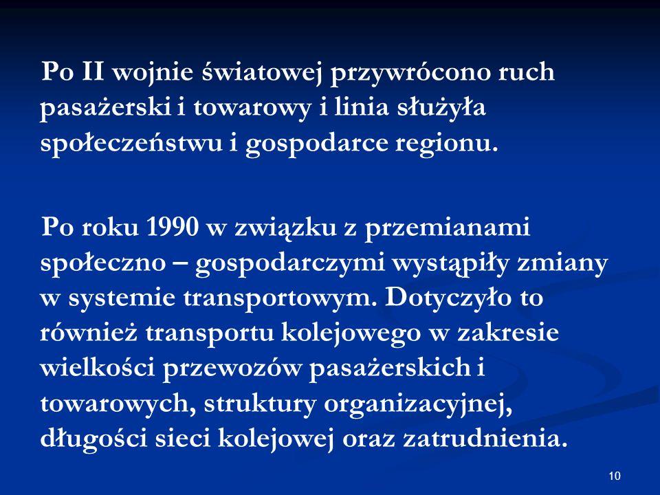 Po II wojnie światowej przywrócono ruch pasażerski i towarowy i linia służyła społeczeństwu i gospodarce regionu.