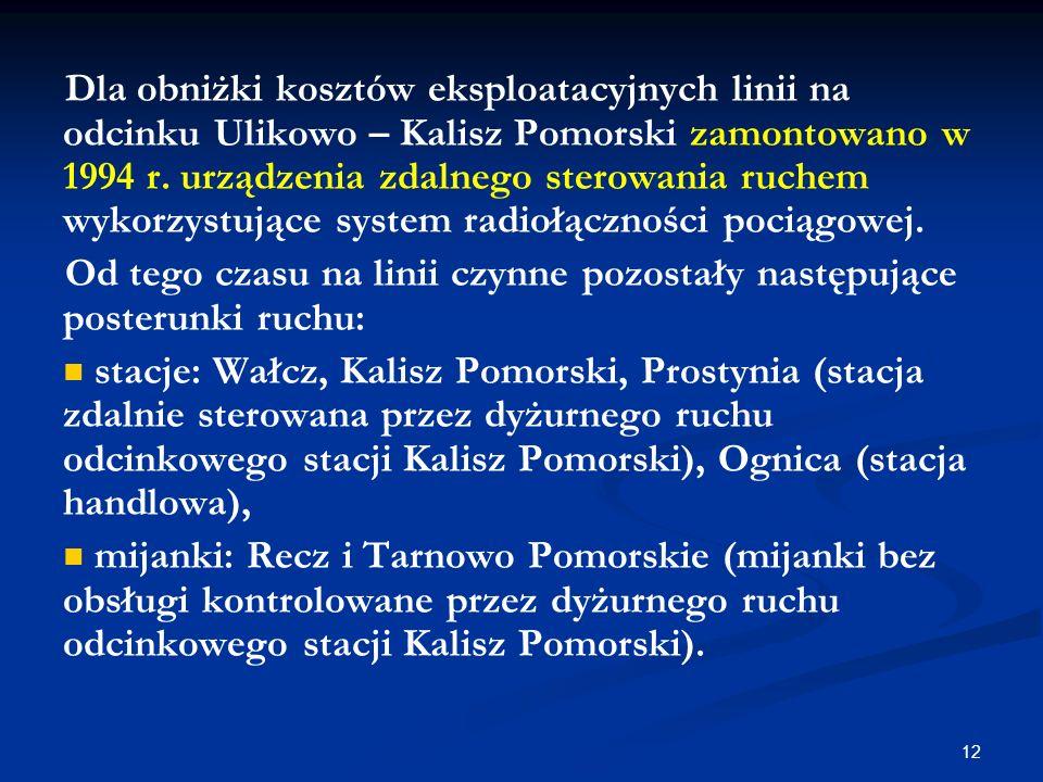 Dla obniżki kosztów eksploatacyjnych linii na odcinku Ulikowo – Kalisz Pomorski zamontowano w 1994 r. urządzenia zdalnego sterowania ruchem wykorzystujące system radiołączności pociągowej.