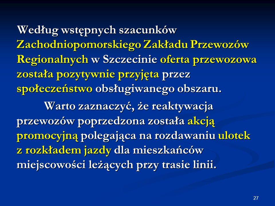 Według wstępnych szacunków Zachodniopomorskiego Zakładu Przewozów Regionalnych w Szczecinie oferta przewozowa została pozytywnie przyjęta przez społeczeństwo obsługiwanego obszaru.