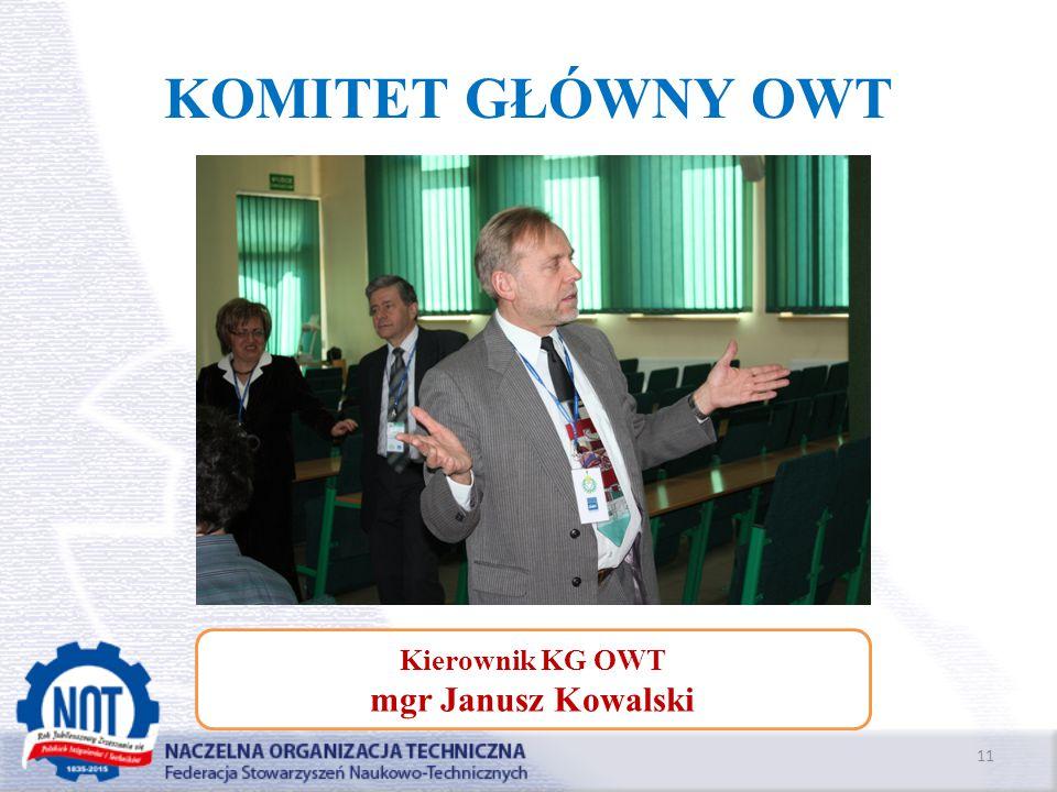 KOMITET GŁÓWNY OWT Kierownik KG OWT mgr Janusz Kowalski