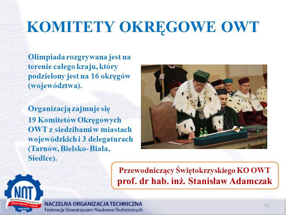 KOMITETY OKRĘGOWE OWT prof. dr hab. inż. Stanisław Adamczak