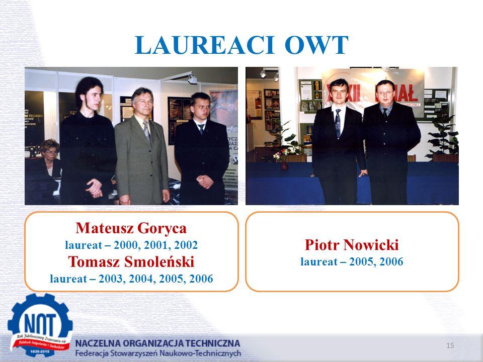LAUREACI OWT Mateusz Goryca Piotr Nowicki Tomasz Smoleński