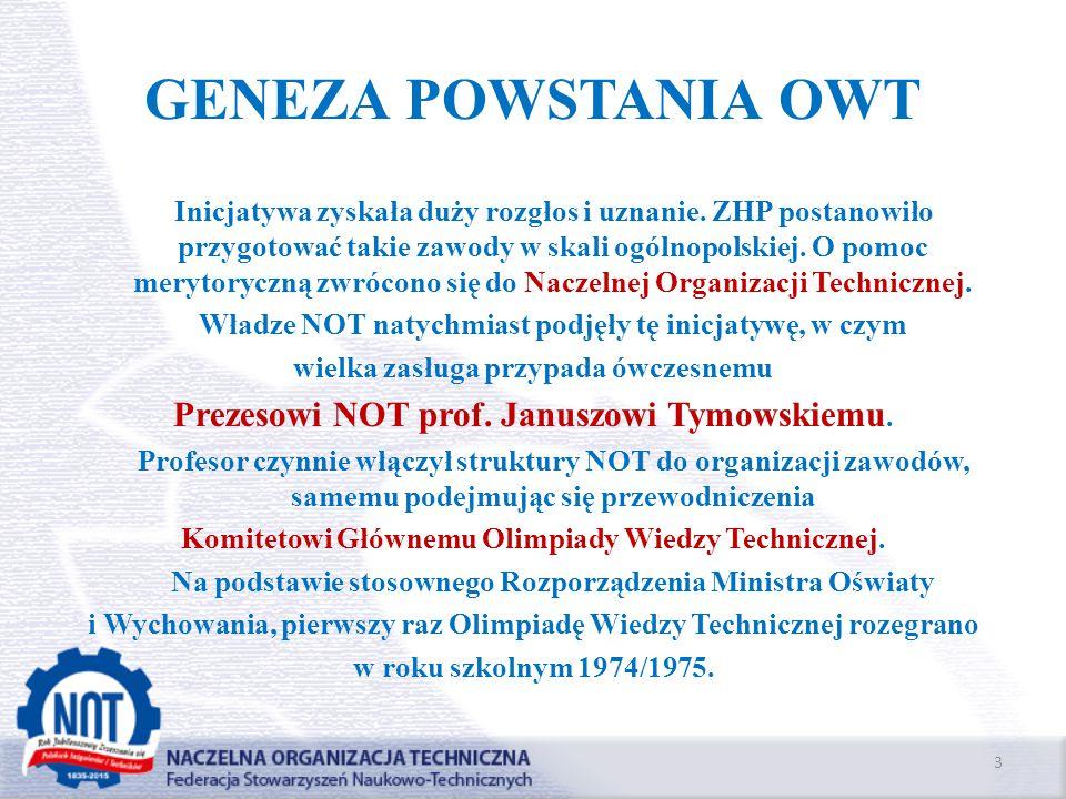 GENEZA POWSTANIA OWT Prezesowi NOT prof. Januszowi Tymowskiemu.