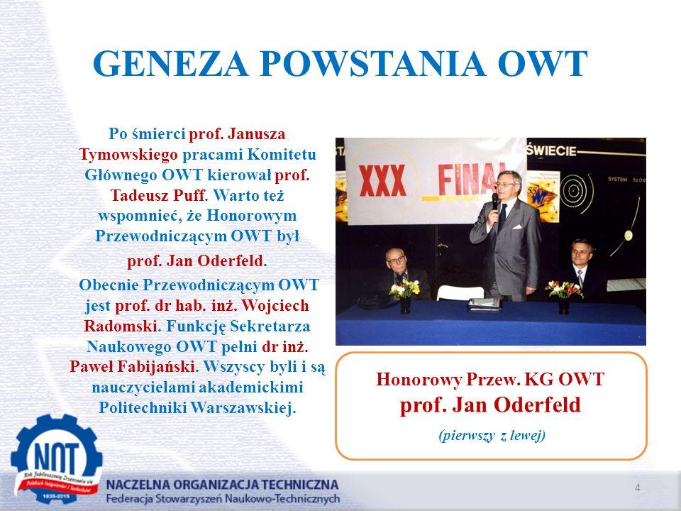 GENEZA POWSTANIA OWT prof. Jan Oderfeld Honorowy Przew. KG OWT