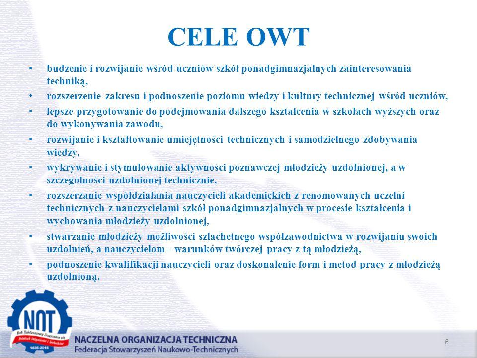 CELE OWT budzenie i rozwijanie wśród uczniów szkół ponadgimnazjalnych zainteresowania techniką,