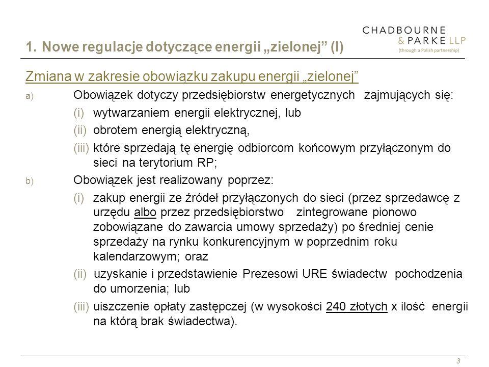 """1. Nowe regulacje dotyczące energii """"zielonej (I)"""