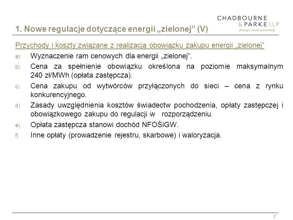 """1. Nowe regulacje dotyczące energii """"zielonej (V)"""