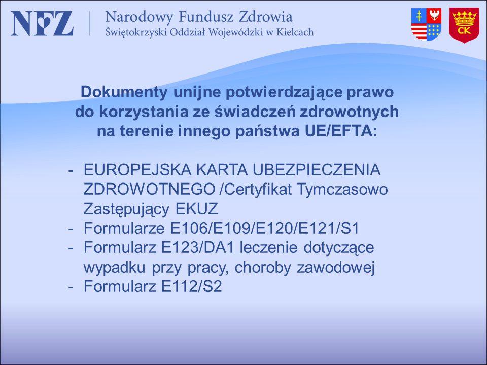 Dokumenty unijne potwierdzające prawo do korzystania ze świadczeń zdrowotnych na terenie innego państwa UE/EFTA: