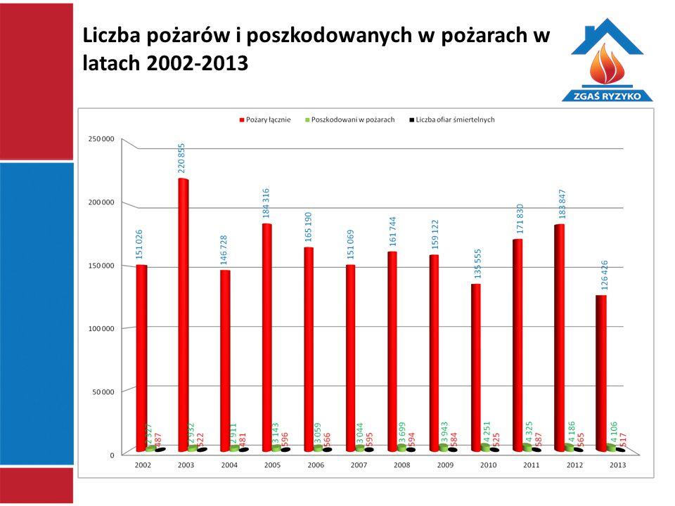 Liczba pożarów i poszkodowanych w pożarach w latach 2002-2013