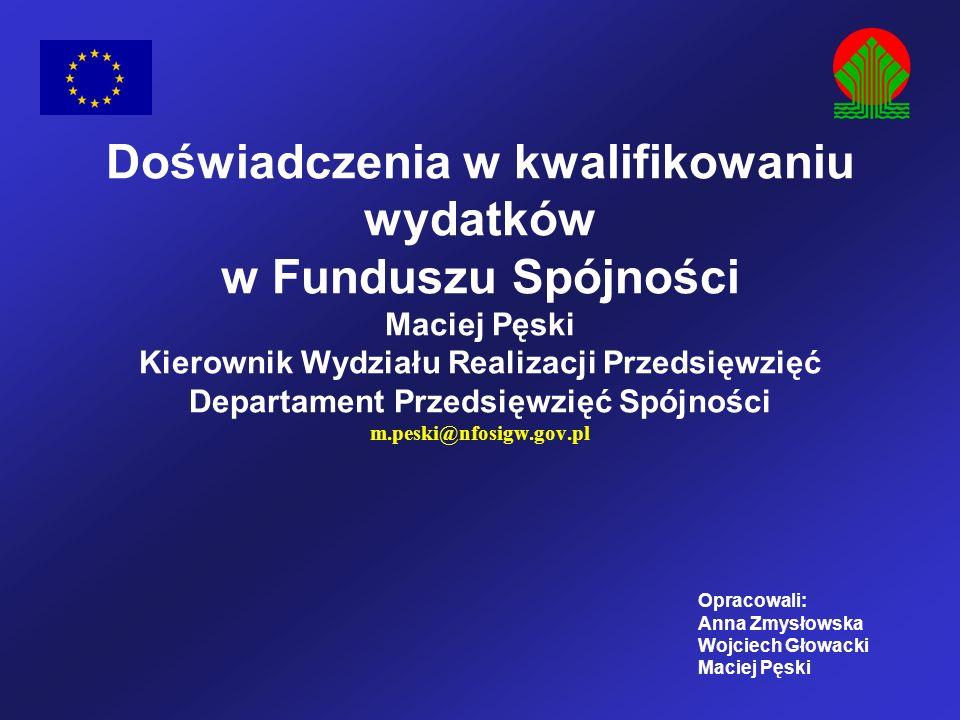 Doświadczenia w kwalifikowaniu wydatków w Funduszu Spójności Maciej Pęski Kierownik Wydziału Realizacji Przedsięwzięć Departament Przedsięwzięć Spójności m.peski@nfosigw.gov.pl