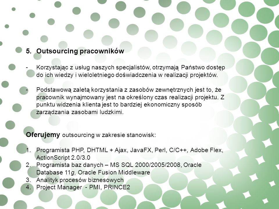 5. Outsourcing pracowników