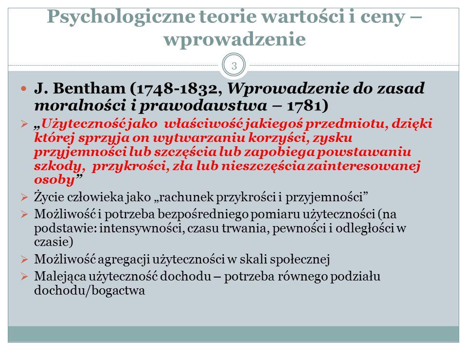 Psychologiczne teorie wartości i ceny – wprowadzenie