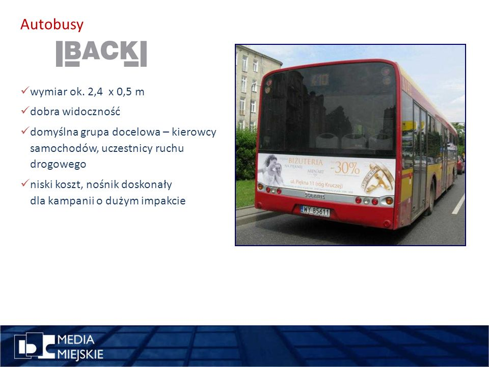 pomysł Autobusy wykorzystajdługość wymiar ok. 2,4 x 0,5 m