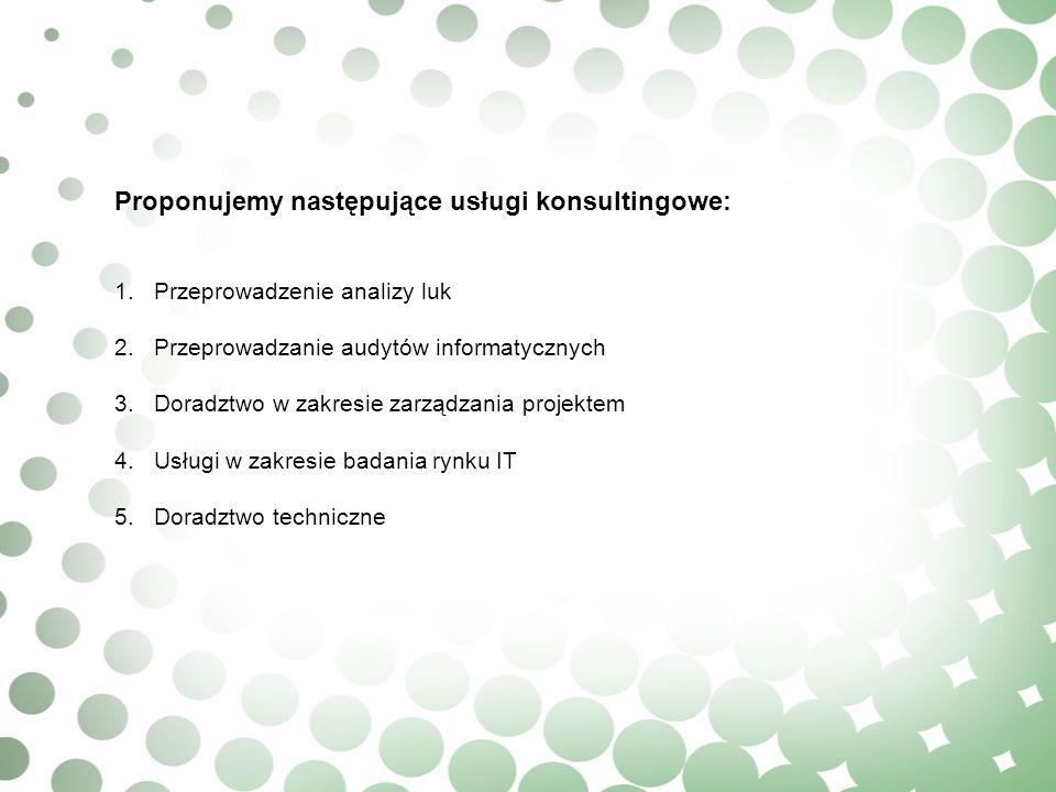 Proponujemy następujące usługi konsultingowe: