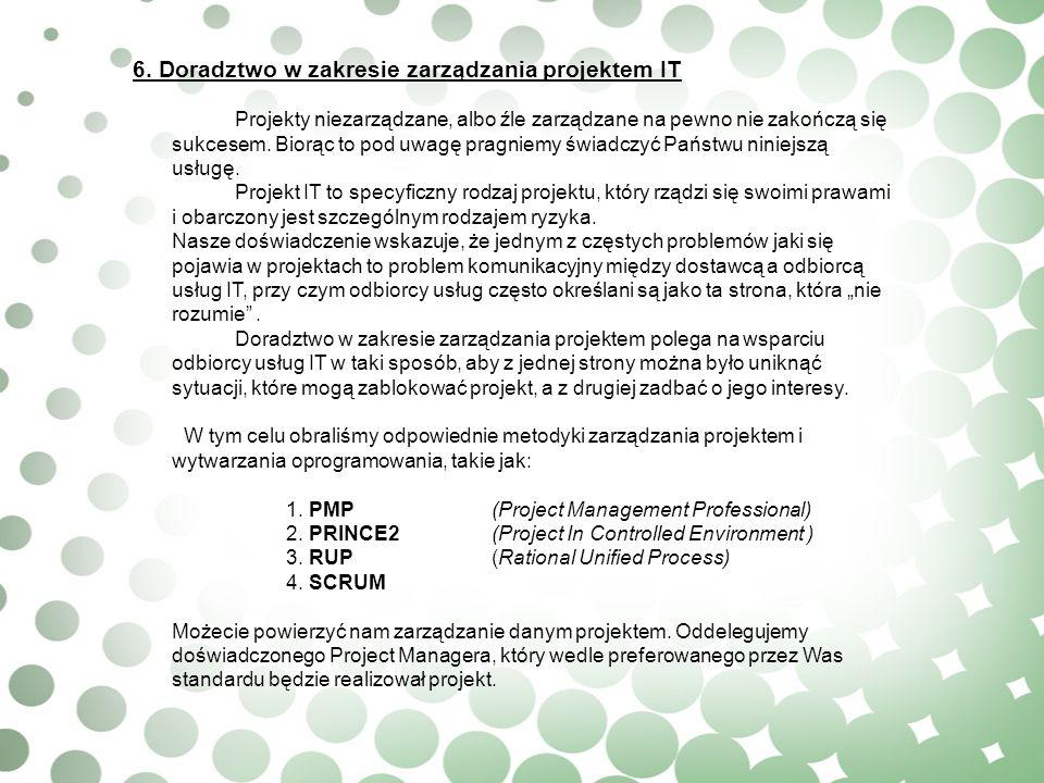 6. Doradztwo w zakresie zarządzania projektem IT