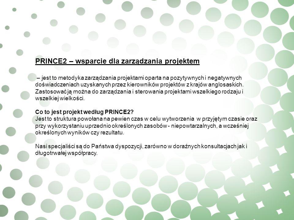 PRINCE2 – wsparcie dla zarządzania projektem