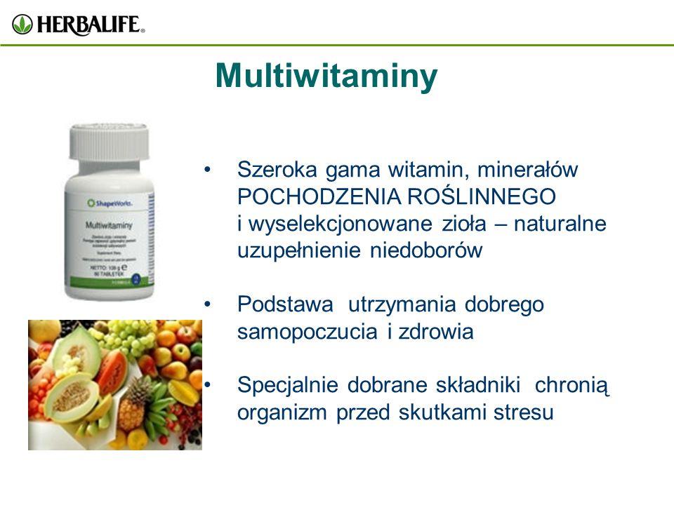 Multiwitaminy Szeroka gama witamin, minerałów POCHODZENIA ROŚLINNEGO i wyselekcjonowane zioła – naturalne uzupełnienie niedoborów.