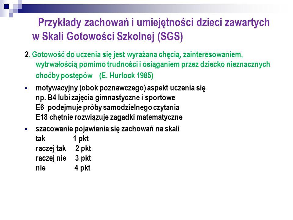 Przykłady zachowań i umiejętności dzieci zawartych w Skali Gotowości Szkolnej (SGS)