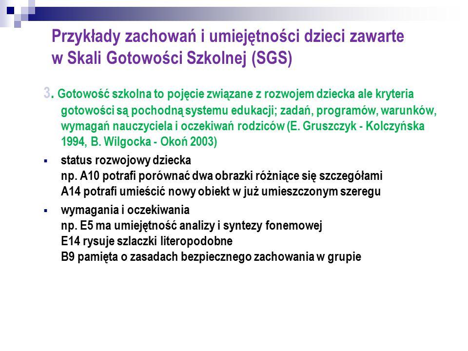 Przykłady zachowań i umiejętności dzieci zawarte w Skali Gotowości Szkolnej (SGS)