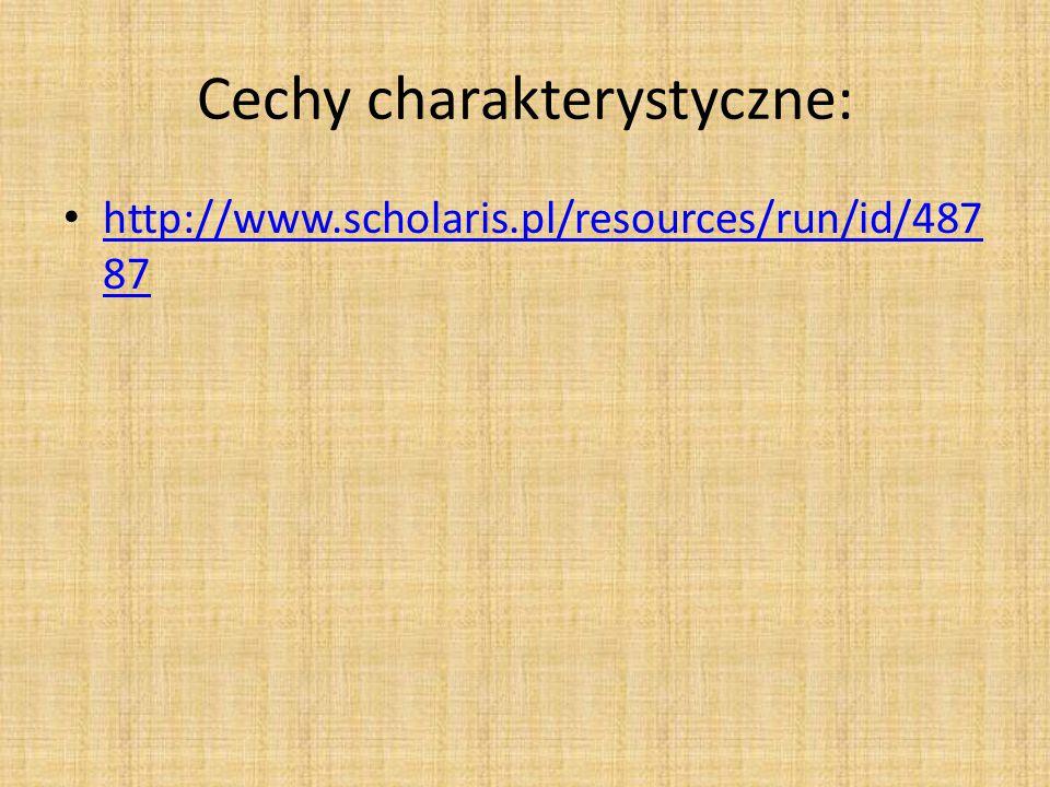 Cechy charakterystyczne: