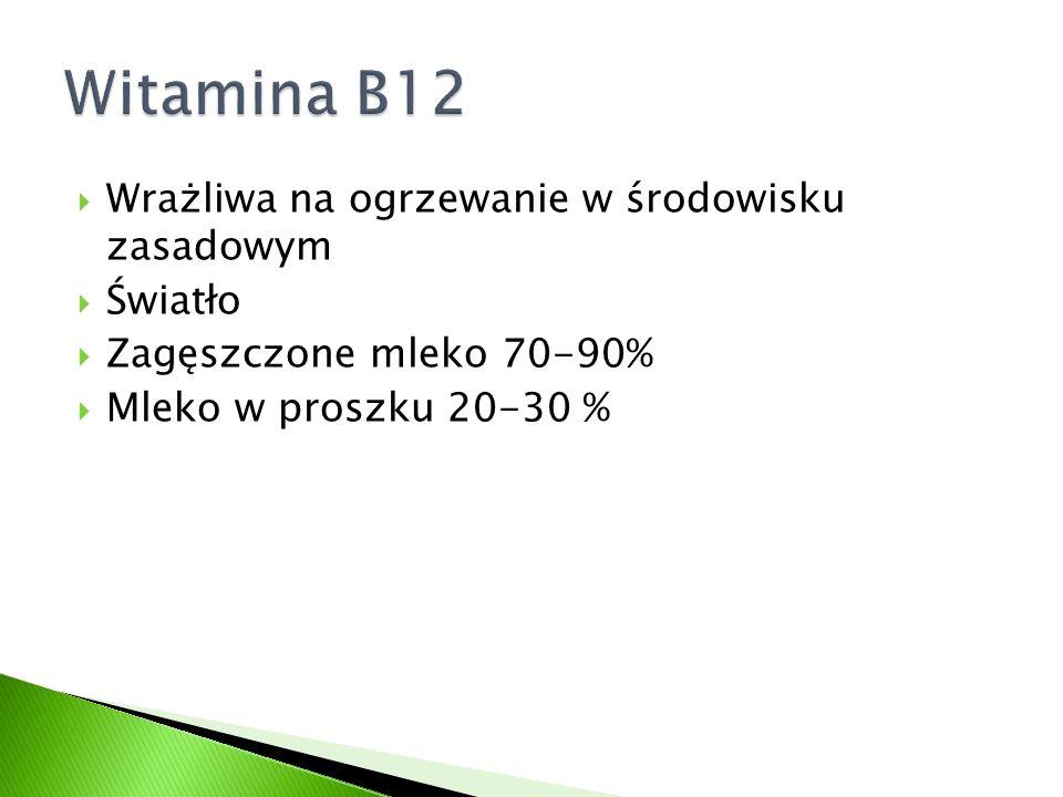 Witamina B12 Wrażliwa na ogrzewanie w środowisku zasadowym Światło