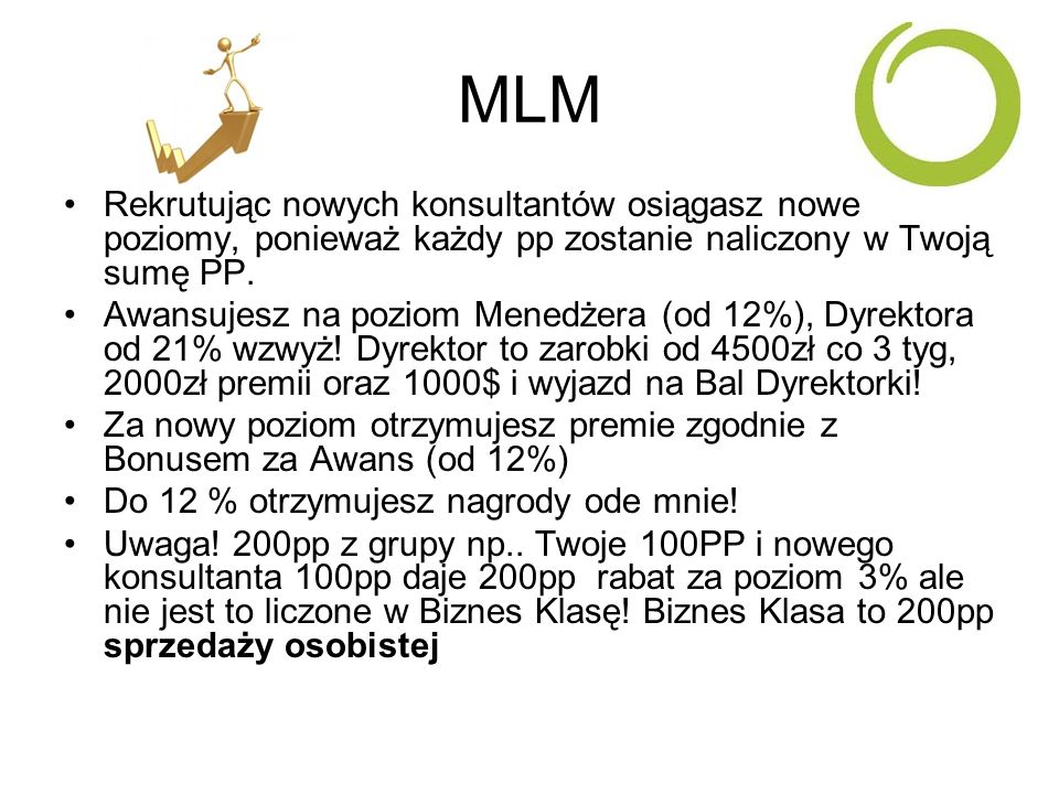 MLMRekrutując nowych konsultantów osiągasz nowe poziomy, ponieważ każdy pp zostanie naliczony w Twoją sumę PP.