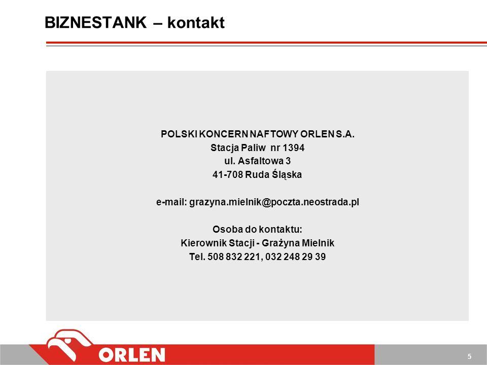 BIZNESTANK – kontakt POLSKI KONCERN NAFTOWY ORLEN S.A.