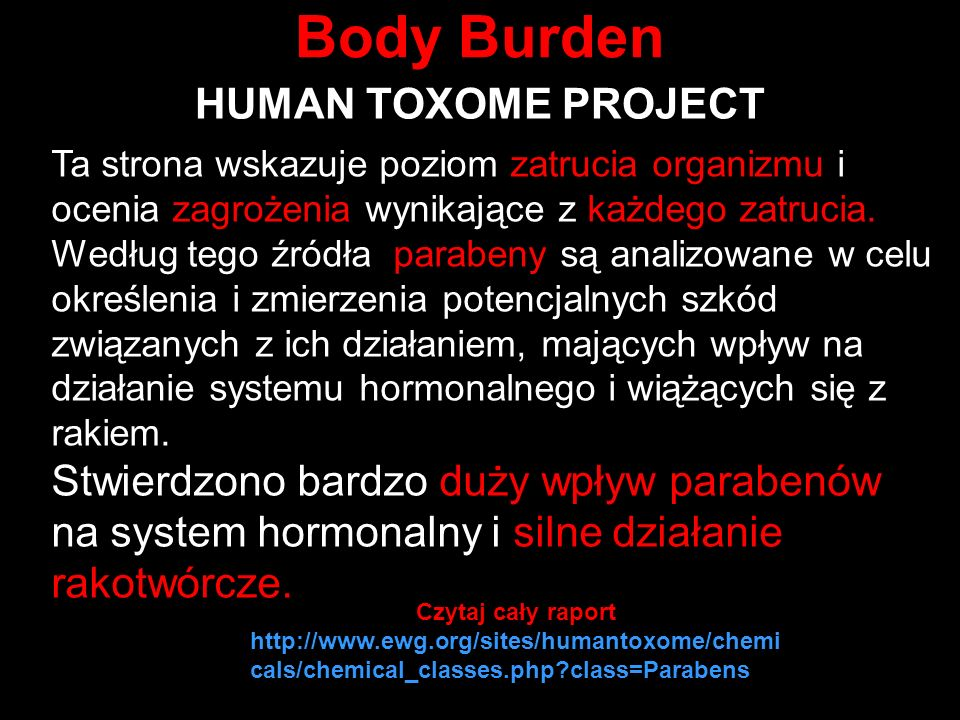 Body Burden HUMAN TOXOME PROJECT