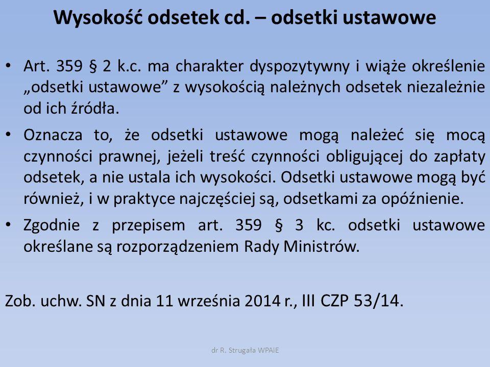 Wysokość odsetek cd. – odsetki ustawowe