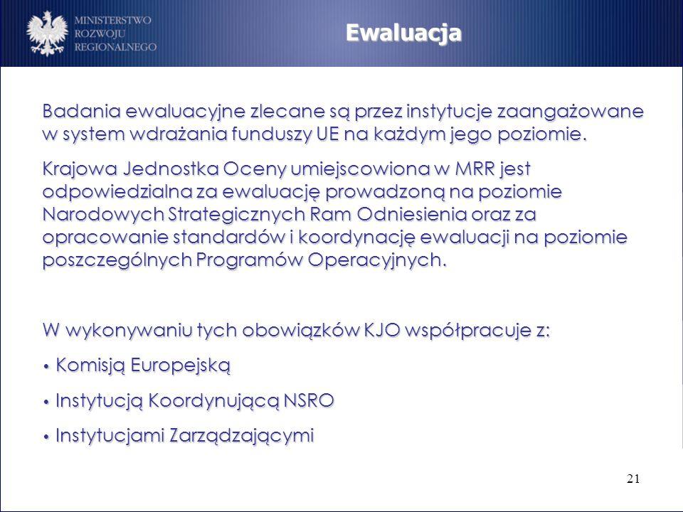 Ewaluacja Badania ewaluacyjne zlecane są przez instytucje zaangażowane w system wdrażania funduszy UE na każdym jego poziomie.