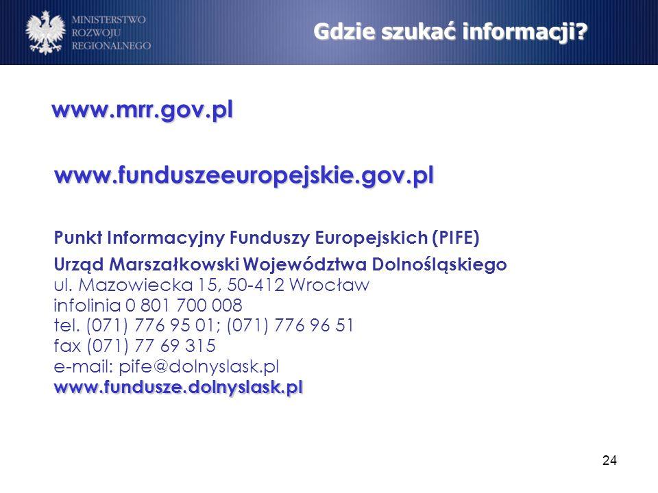 www.funduszeeuropejskie.gov.pl Gdzie szukać informacji www.mrr.gov.pl