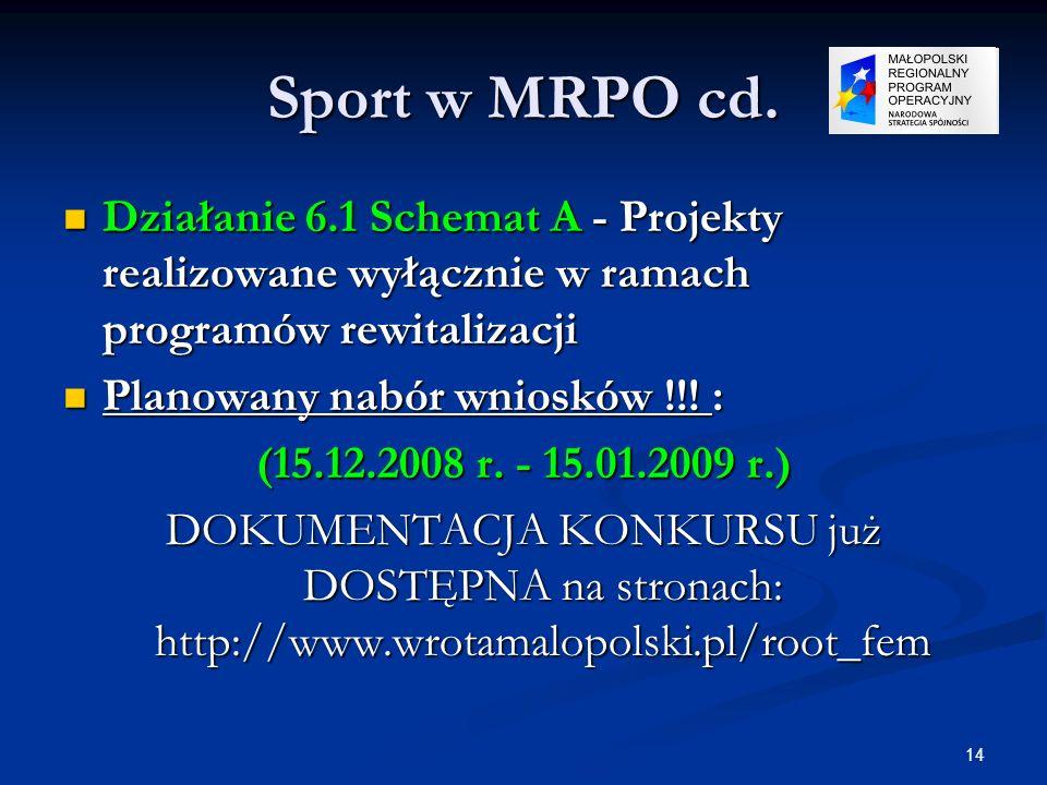 Sport w MRPO cd.Działanie 6.1 Schemat A - Projekty realizowane wyłącznie w ramach programów rewitalizacji.