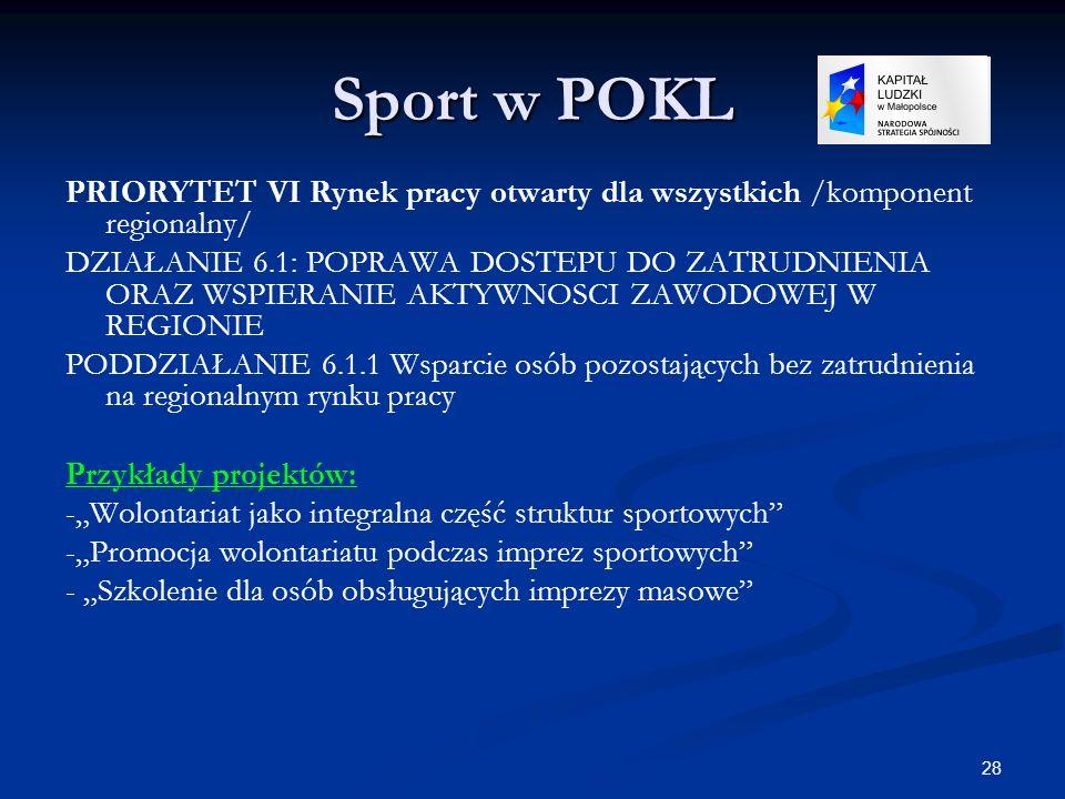 Sport w POKLPRIORYTET VI Rynek pracy otwarty dla wszystkich /komponent regionalny/