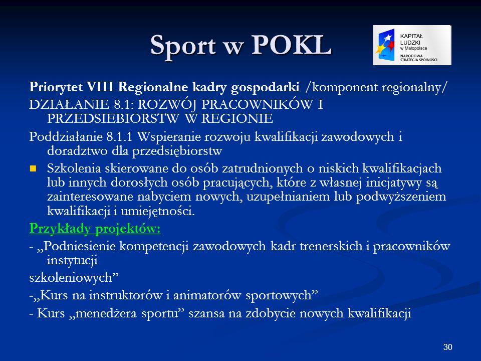 Sport w POKLPriorytet VIII Regionalne kadry gospodarki /komponent regionalny/ DZIAŁANIE 8.1: ROZWÓJ PRACOWNIKÓW I PRZEDSIEBIORSTW W REGIONIE.