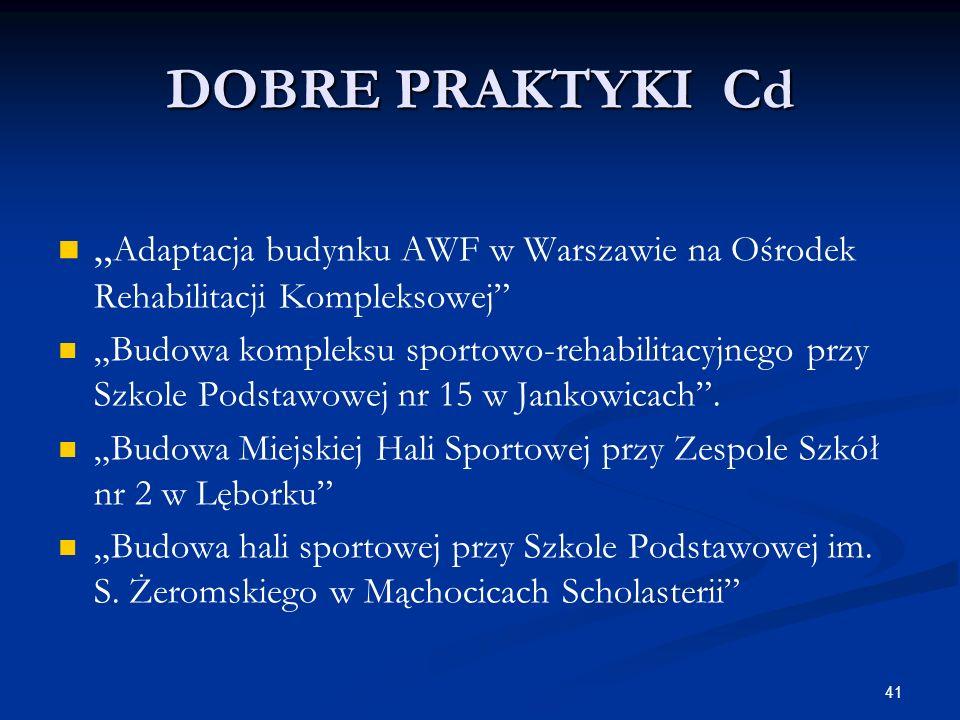 """DOBRE PRAKTYKI Cd""""Adaptacja budynku AWF w Warszawie na Ośrodek Rehabilitacji Kompleksowej"""