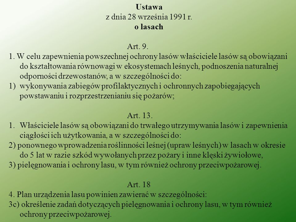 Ustawa z dnia 28 września 1991 r. o lasach. Art. 9.