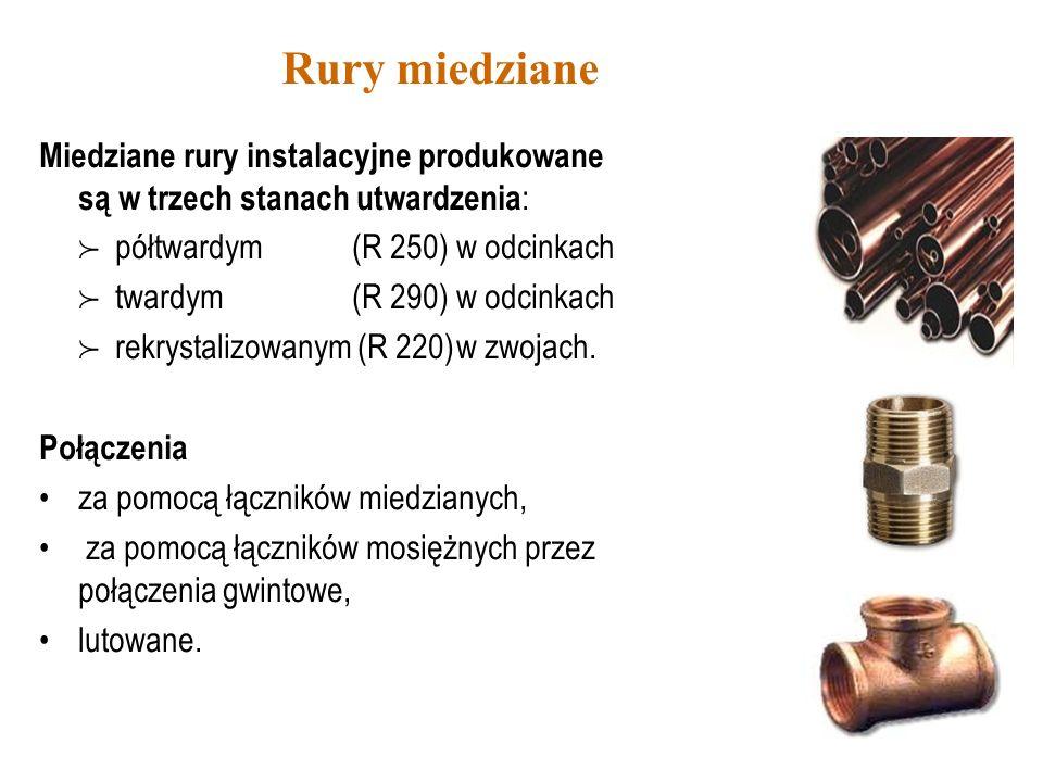 Rury miedzianeMiedziane rury instalacyjne produkowane są w trzech stanach utwardzenia:  półtwardym (R 250) w odcinkach.